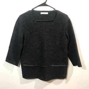 Cut Loose XS Dark Gray Wool Sweater Top 3/5 Sleeve